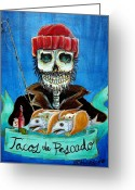 South Greeting Cards - Tacos de Pescado Greeting Card by Heather Calderon