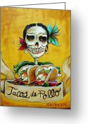 Tropical Greeting Cards - Tacos de Pollo Greeting Card by Heather Calderon