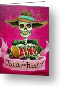 Plates Greeting Cards - Tacos de Puerco Greeting Card by Heather Calderon