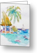 South Seas Greeting Cards - Tahiti Lotus Pool Greeting Card by Pat Katz
