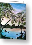 Dawn Drawings Greeting Cards - Tahiti Greeting Card by Mindy Newman