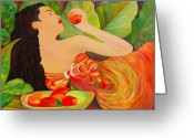 Red Dress Painting Greeting Cards - Tahitian Mangos Greeting Card by Dorota Nowak