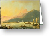 Oceania Greeting Cards - Tahitian War Galleys in Matavai Bay - Tahiti Greeting Card by William Hodges