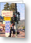 Gas Stations Greeting Cards - Tahoe Toms Market And Gas Station Greeting Card by Wingsdomain Art and Photography