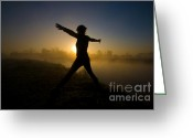Tai Greeting Cards - Tai Chi On Sunrise Greeting Card by Yhun Suarez