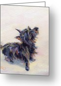 Cairn Terrier Greeting Cards - Tail Wagging Fury Greeting Card by Kimberly Santini