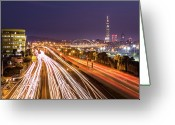 Long Street Greeting Cards - Taipei Light Trails At Night Greeting Card by © copyright 2011 Sharleen Chao