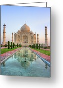 Minaret Greeting Cards - Taj Mahal, Agra Greeting Card by Pushp Deep Pandey / 2kPhotography