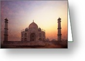 Charismatic Greeting Cards - Taj Mahal at sunrise Greeting Card by Karel Noppe
