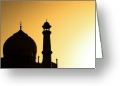 Dome Greeting Cards - Taj Mahal At Sunset Greeting Card by Kokkai Ng