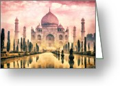 Mo Greeting Cards - Taj Mahal Greeting Card by Mo T