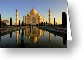 Reflecting Greeting Cards - Taj Mahal Greeting Card by Tayseer AL-Hamad