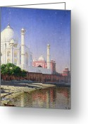 Minarets Greeting Cards - Taj Mahal Greeting Card by Vasili Vasilievich Vereshchagin