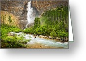 Rocky Mountains Greeting Cards - Takakkaw Falls waterfall in Yoho National Park Canada Greeting Card by Elena Elisseeva