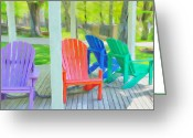 Gazebo Greeting Cards - Take a Seat but Dont Take a Chair Greeting Card by Jeff Kolker
