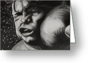 Cheek Drawings Greeting Cards - Take It Like a Man Greeting Card by Joan Pollak