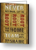 Baseball Poster Greeting Cards - Take Me Out the the Ballgame Greeting Card by Jeff Steed
