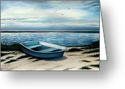 Row Boat Mixed Media Greeting Cards - Take Me There Greeting Card by Elizabeth Robinette Tyndall
