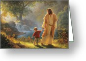 Waterfall Greeting Cards - Take My Hand Greeting Card by Greg Olsen