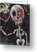 Skull Painting Greeting Cards - Take my Heart Greeting Card by  Abril Andrade Griffith