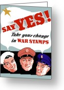 Second Greeting Cards - Take Your Change In War Stamps Greeting Card by War Is Hell Store