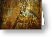Religious Art Digital Art Greeting Cards - Takes up the Cross  Via Dolorosa 1 Greeting Card by Lianne Schneider