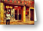 Picoftheday Greeting Cards - Taking A Break in Chinatown Greeting Card by Luke Kingma