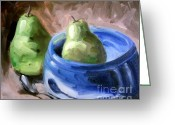 Two Pears Greeting Cards - Taking A Dip Greeting Card by Samantha Black