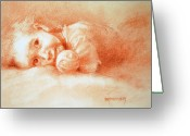 Little Boy Pastels Greeting Cards - Taking Five Greeting Card by MaryAnn Cleary