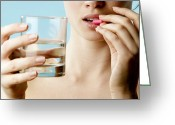 Pill Greeting Cards - Taking Pill Greeting Card by Mauro Fermariello