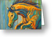 Running Horse Painting Greeting Cards - Taking the Leap Greeting Card by Theresa Paden