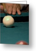 Cue Ball Greeting Cards - Taking the Shot Greeting Card by Karen Musick