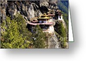 Tiger Tapestries Textiles Greeting Cards - Taktsang Monastery  Greeting Card by Fabrizio Troiani