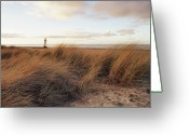 Beach Grass Greeting Cards - Talacre Beach And Point Of Arye Lighthouse Greeting Card by Jon Baxter