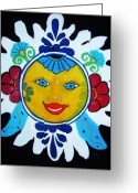 Bright Pastels Greeting Cards - Talavera Sun Greeting Card by Melinda Etzold