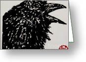 Raven Drawings Greeting Cards - Talk to Me Greeting Card by Andrew Jagniecki