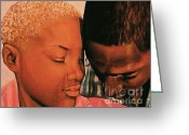 Relationship Pastels Greeting Cards - Talk To Me Baby II Greeting Card by Curtis James