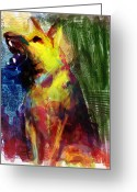 German Shepard Digital Art Greeting Cards - Talking Dog Greeting Card by James Thomas