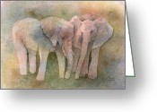 Elephant Watercolor Greeting Cards - Talking It Over Greeting Card by Arline Wagner