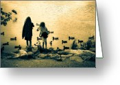 "\""sunset Photography\\\"" Greeting Cards - Talking to ducks Greeting Card by Bob Orsillo"