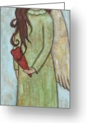 Angel Pastels Greeting Cards - Tall Angel with Heart Greeting Card by Rain Ririn