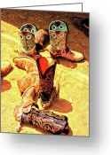 Cowboy Digital Art Greeting Cards - Tall Boots Greeting Card by Gus McCrea