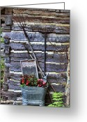Wash Board Greeting Cards - Tall Log Cabin and Garden Tools Greeting Card by Linda Phelps