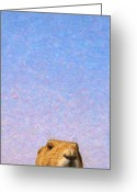 Groundhog Greeting Cards - Tall Prairie Dog Greeting Card by James W Johnson