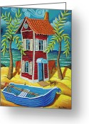 Chimney Pastels Greeting Cards - Tall red house Greeting Card by Chris Boone