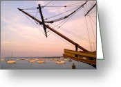 Mayflower Greeting Cards - Tall Ship Mayflower II in Plymouth Massachusetts Greeting Card by Matt Suess
