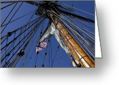 Ropes Greeting Cards - Tall Ship Rigging Greeting Card by Garry Gay