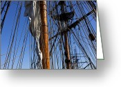 Flags Greeting Cards - Tall ship rigging Lady Washington Greeting Card by Garry Gay