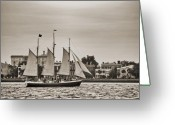 Sepia Greeting Cards - Tall Ship Schooner Pride off the Historic Charleston Battery Greeting Card by Dustin K Ryan