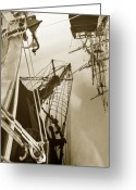 Fyn Greeting Cards - Tall Ships Reflected Greeting Card by Robert Lacy